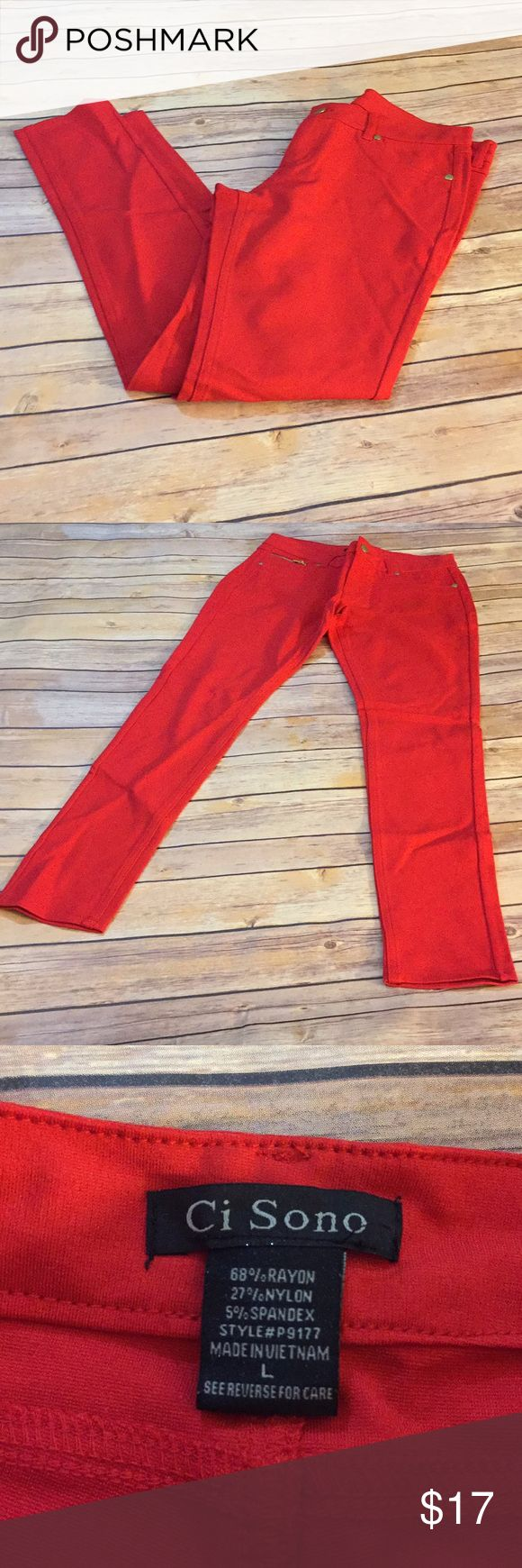 """Chi Sono Red by Cavallini Stretch Skinny Jeans Gorgeous condition. Only worn once. No visible flaws. Stretch skinny jeans.  Length: 37"""" Inseam: 27.5"""" Waist: 28"""" Rise: 9"""" 👜Submit a bundle for a private offer! 👜.       🚫Smoke free, pet free home. No trades. 🚫 Ci Sono Pants Skinny"""