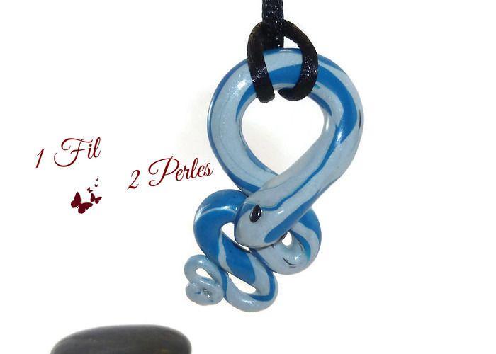Collier Pendentif Serpent Snake Lucky Gris et Bleu : Pendentif par 1-fil-2-perles