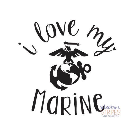 I Love My Marine Love Decal. USMC Hero by StarsStripesDesigns