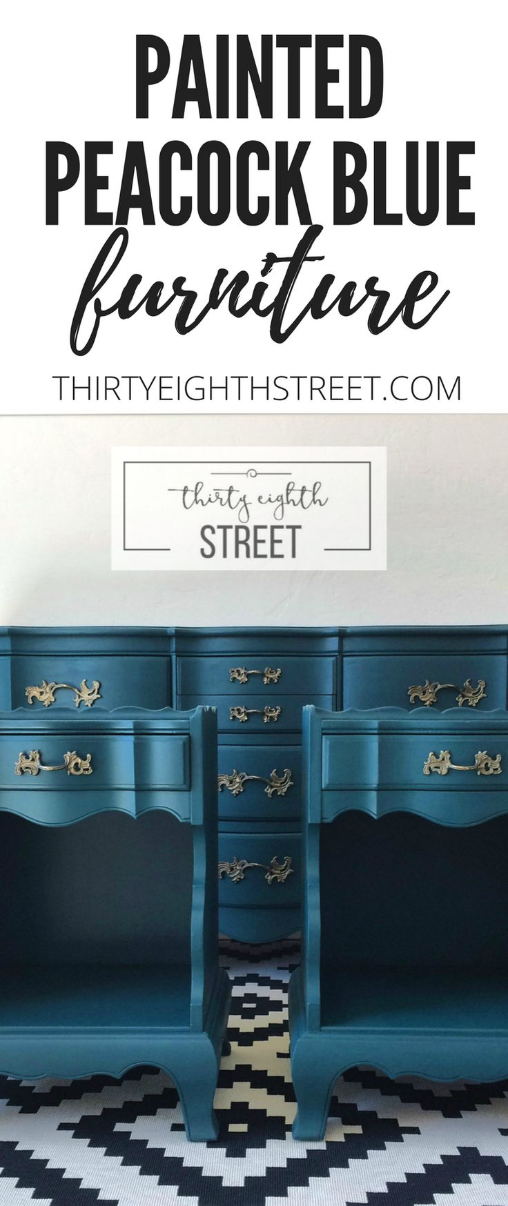 Learn how to update and paint your furniture! Painted Furniture Ideas and Inspiration! Peacock Blue Furniture Ideas. Bedroom Furniture Ideas. Chalk Painted Bedroom Ideas. Blue Painted Furniture. Peacock Blue Dresser. Peacock Blue Nightstands. Prettiest Peacock Blue Furniture! #peacockblue #paintedfurniture #diybedroom #frenchprovincial #furnituremakeovers