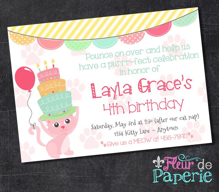 Kitty cat birthday party invitation by FleurdePaperie on Etsy https://www.etsy.com/listing/206066018/kitty-cat-birthday-party-invitation