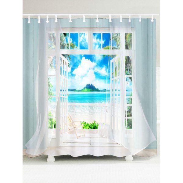 $16.03 3D Window Frame Printed Fabric Shower Curtain - Blue - W71 Inch * L71 Inch