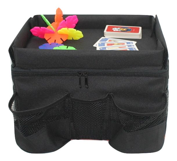 This is our latest product to be launched - it has been designed as a multi-purpose kids storage organizer and play tray to sit on the back middle seat, in between your children. - DEEP CARGO BIN hold