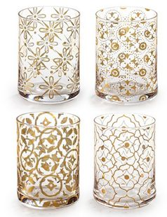 Gold foil set of 4 drinking glasses