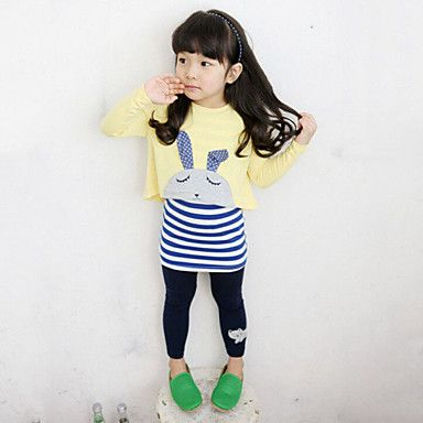 Girl's+Yellow+/+Gray+Clothing+Set,Stripes+Rayon+Spring+/+Fall+–+USD+$+14.99