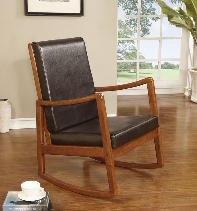 Nyle Collection Oak Finish Wood And Dark Brown Faux Leather Upholstered  Rocking Chair. Measures 26