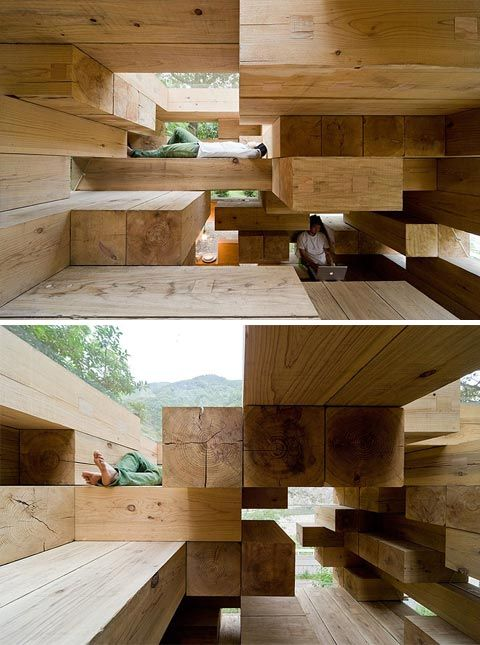 Sou Fujimoto is the creator of a masterpiece: the Wooden Hut. 15, 13 sq.m. cube-shaped mountain shelter made of cedar wood timbers in Kunamoto, Japan