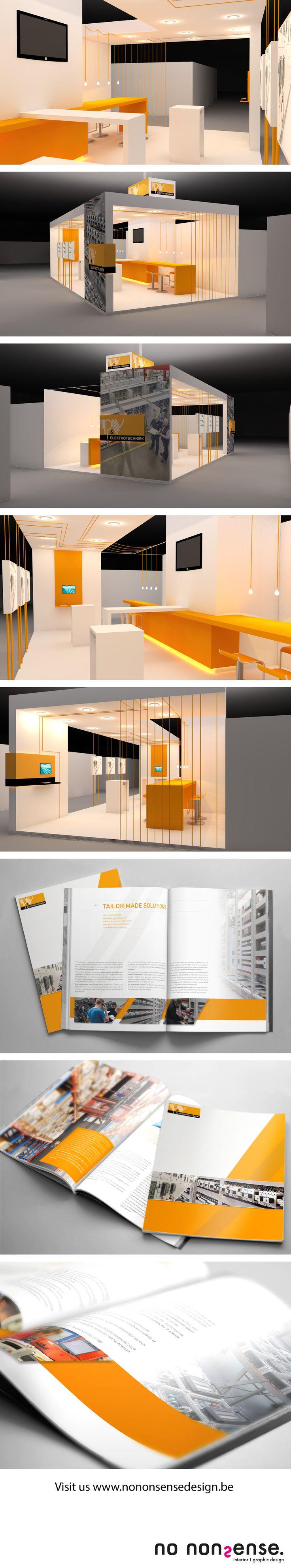Ontwerp van een beursstand en brochure. #branddesign #graphicdesign #interiordesign #beursstand #nononsensedesign Bezoek onze website: www.nononsensedesign.be