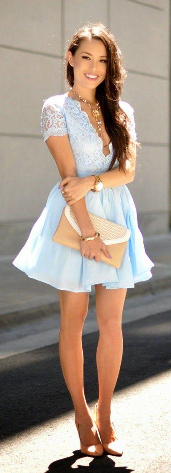 bildhübsches Sugarbabe angezogen mit himmelblauem kurzen Kleid   Dress   Traumhaftes Mini Kleid   Sugarkleid   Sugargirl