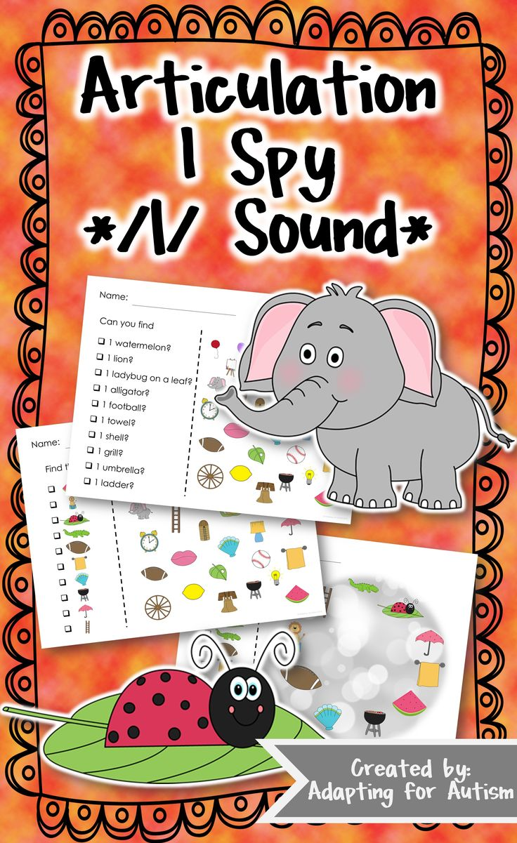 Articulation I Spy /l/: three levels of difficulty for a unique way to practice articulation goals. Have fun searching for the pictures while practicing the /l/ sound in the initial, medial and final positions. #articulation #adaptedgame {Created by Adapting for Autism}