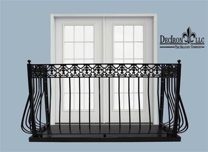 "4"" Deep llight belly picket wrought iron balcony.42"" height. 7"" top Greco Romanesque grape cast iron design. True balcony, includes platform and its bottom cover. Powder coated"