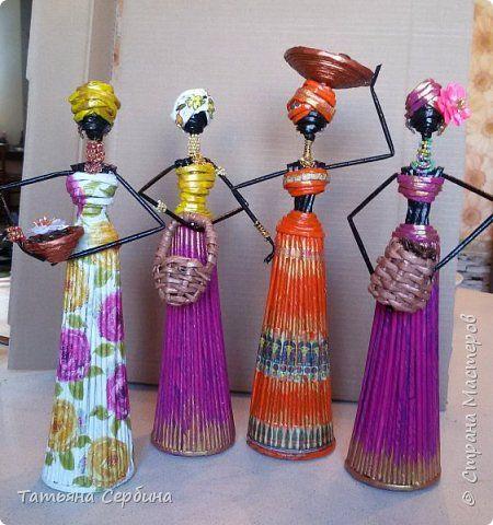 Куклы Моделирование конструирование Девушка-африканка +как я её делала Трубочки бумажные фото 21