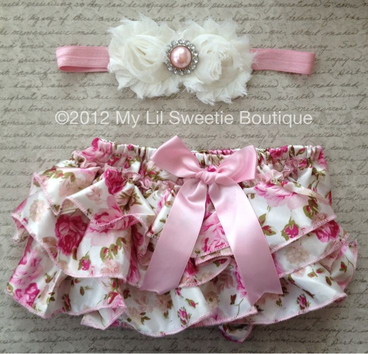 Vintage Floral Satin Bloomer Set-   Headband and Bloomers- Newborn Outfit - Baby Girl Outfit - Toddler- Photo Prop. $26.95, via Etsy.