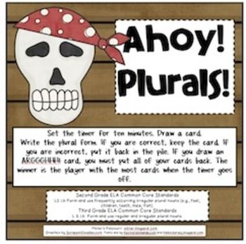 FREE! Fun game to practice spelling plurals, both regular and irregular. Draw a card. Spell the plural form correctly and keep the card. Draw an ARRRGGHHH! card and put all your cards back. 2nd, 3rd grades