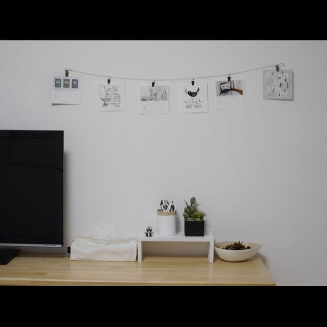 モノトーン/シンプル/DIYパソコンデスク/ニトリ/カレンダー/サンサンフー…などのインテリア実例 - 2016-01-19 19:30:19 | RoomClip(ルームクリップ)