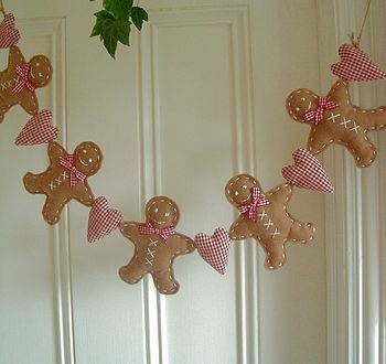 Felt Gingerbread Men Hearts Garland