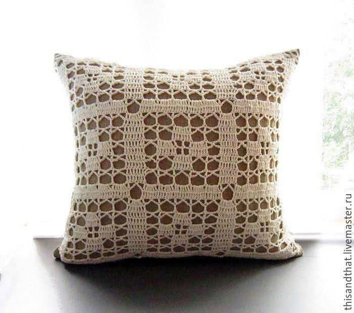 Купить Чехол/Наволочка на диванную подушку. Лён и кружево - молочный, экрю…