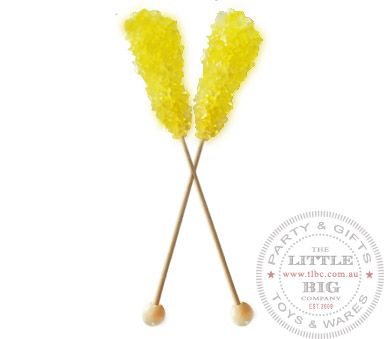 Swizzle Stick - Lemon Flavour | Rock Candy Swizzle Sticks | Candy | The Little Big Company Pty Ltdparty, glass bottles, swizzle sticks, beve...