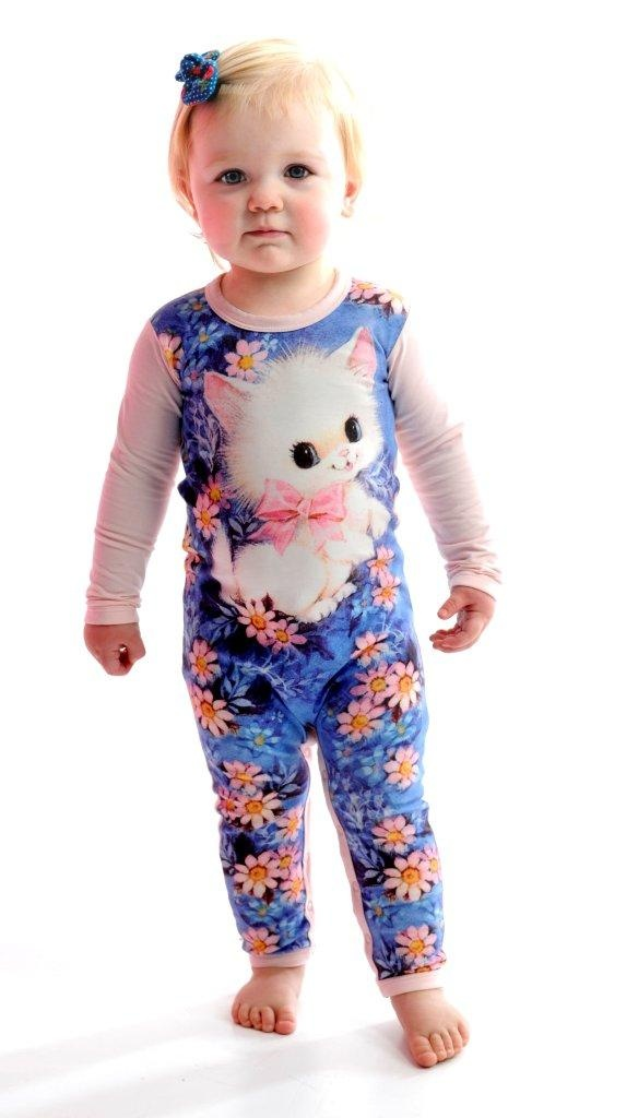 Greeting Card Kitty playsuit by Rock Your Baby