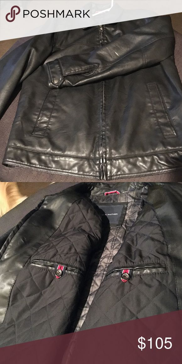 Men's Designer Leather Jacket Stylish, warm jacket has collar, zip front, welted front pockets and banded waist. Quilted polyester plaid lining has inside secure chest pockets. No blemishes, non smoking home. Tommy Hilfiger Jackets & Coats
