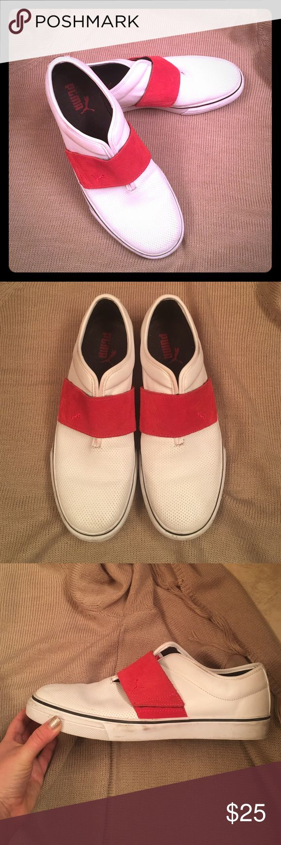 Puma Sport Lifestyle Tennis Shoes Men's Puma Slip On. Good pre-loved condition.  Very well kept. White is still very white! Minor wear & tear (shown in photos) that could be cleaned off. Puma Shoes Loafers & Slip-Ons