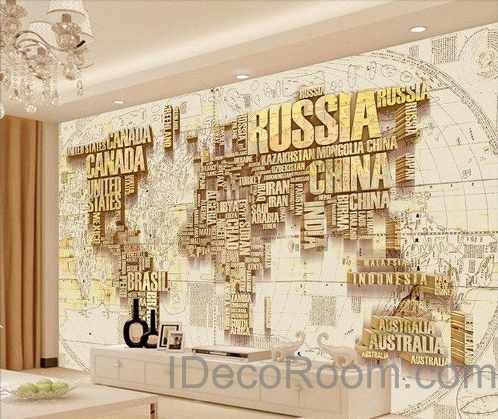Abstract world map nation 3d wallpaper wall decals wall for Wallpaper design for office wall