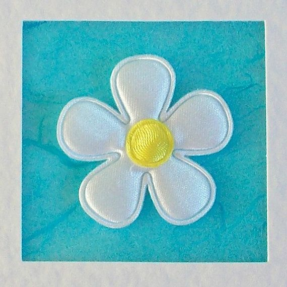 Birthday Card, girlfriend, for her, mum, friend, wife, sister, daughter, white satin flower on turquoise, modern, contemporary, cute
