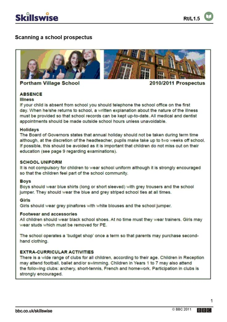 Scanning a school prospectus. Exercise in scanning an example of a school prospectus to find information quickly.