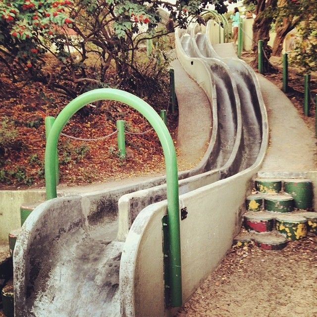 These cement slides are fun for the whole family!