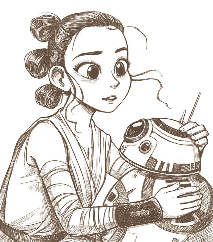 Rey And BB8 Kawaii Drawing ️