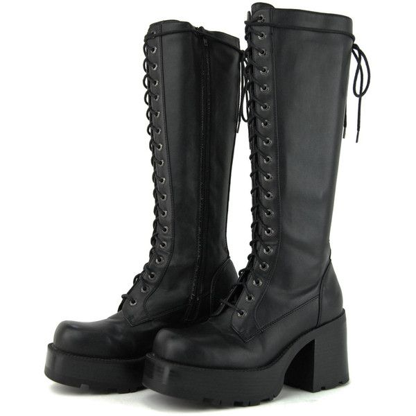 SALE - Vintage Black Gothic Bongo Platform Chunky Leather Boots / Size... (5.065 RUB) ❤ liked on Polyvore featuring shoes, boots, high heel platform boots, platform boots, black lace up boots, gothic platform boots and goth platform boots