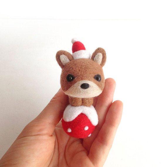 Needle Felted Fox Ornament Christmas Felt Fox by CriColors on Etsy