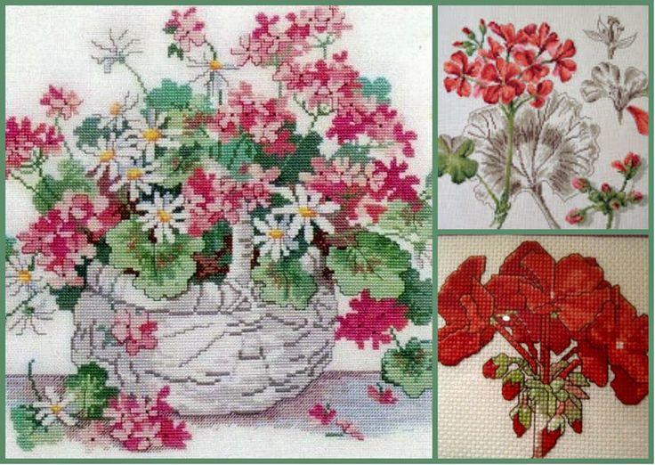 """Милые сердцу штучки: рукоделие, декор и многое другое: Вышивка крестом: """"Герань"""" (подборка + несколько схем)"""