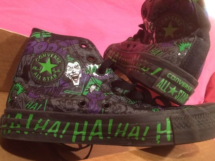 dc comic converse High Tops Joker Size 4 Vilan /Superhero Batman #Converse #FashionSneakers