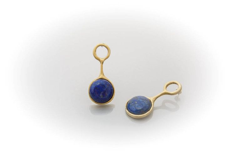 brass earrings with lapis lazuli stone by AtelierMarias on Etsy