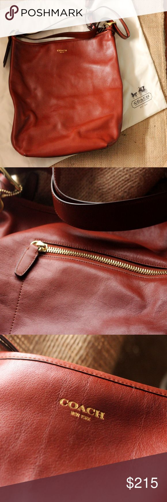 "Brown COACH Legacy LEATHER duffle - (EUC) Cognac brown COACH Legacy large duffle PURSE - excellent used condition. Like new, waiting in a closet for someone FABULOUS to use it. No signs of wear still rocking that fresh leather smell. Silky soft 1.5"" leather strap and tassel details! 14"" high. 15"" Wide. Comes with its original famous Coach dust bag cover! Coach Bags Totes"