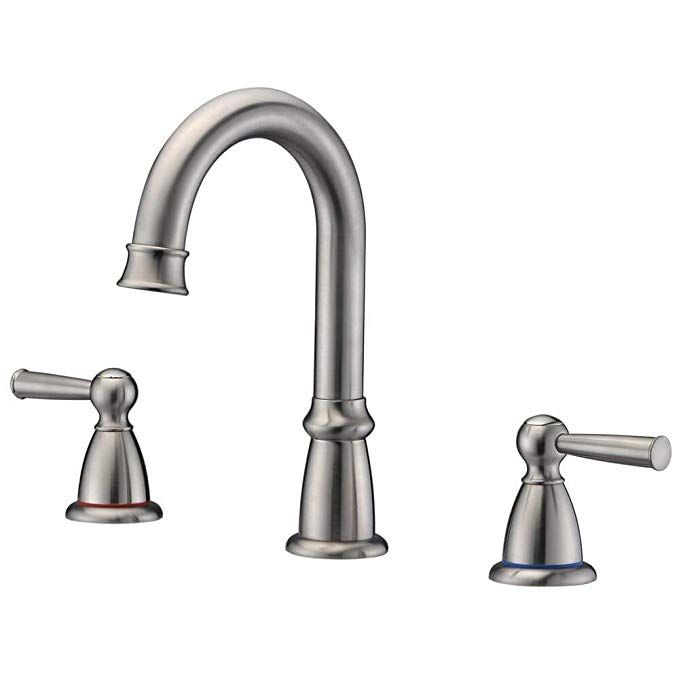 Crea 3 Hole Widespread Bathroom Faucet In Brushed Nickel 2 Handle Lavatory Basin Faucet A Widespread Bathroom Faucet Bathroom Sink Faucets Bathroom Faucets