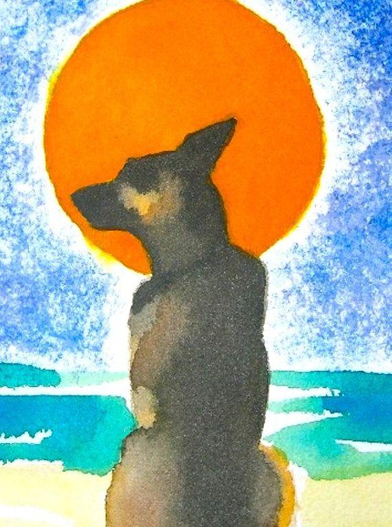 German Shepherd dog artwork watercolor by MarthaKuperBrinson