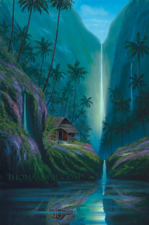 Tropical Waterfalls | Enchanted Tropical Waterfall - Original - Original Paintings on Canvas ...