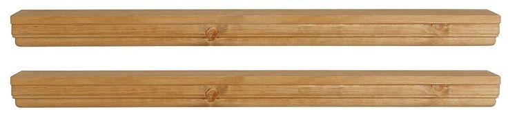 In folgenden Farben erhältlich:  Gelaugt geölt, Kolonialfarben gebeizt lackiert, Weiß gebeizt lackiert,  Details:  Im Landhaus-Stil, FSC®-zertifiziertes Massivholz, In verschiedenen Farben, Das Holz ist gelaugt geölt oder gebeizt lackiert., Im 2er Set,  Maße:  (B/T/H): ca. 89/15/6 cm, Alles ca.-Maße,  Informationen zu Lieferumfang und Montage:  Selbstmontage mit Aufbauanleitung,  Material:  FSC...