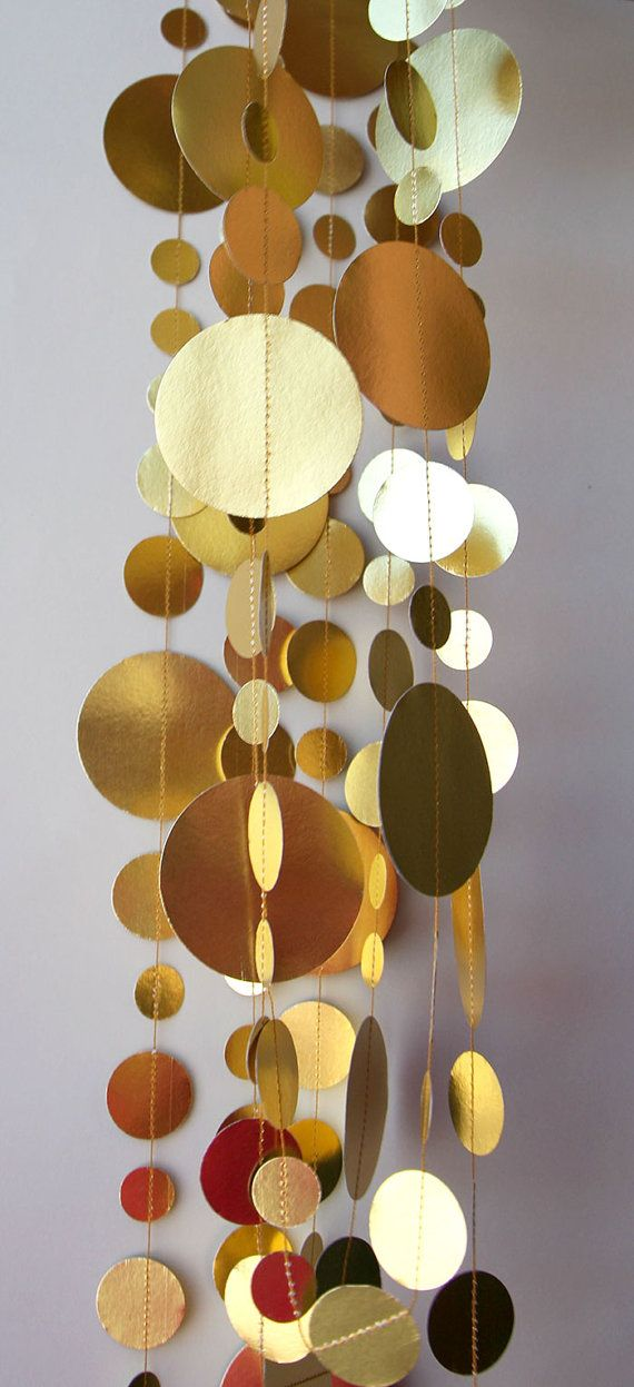Gold wedding decorations, Gold garland, Bridal shower decor, Christmas Garland, Paper garland, Christmas Decoration,Paper garland