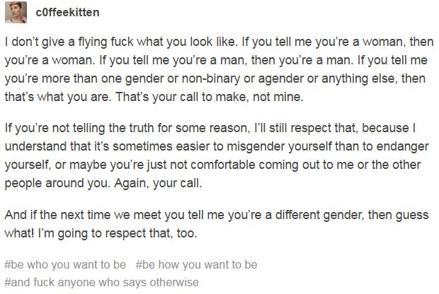 i wish more people were like this. nobody except internet friends respect my gender/name/pronouns :/