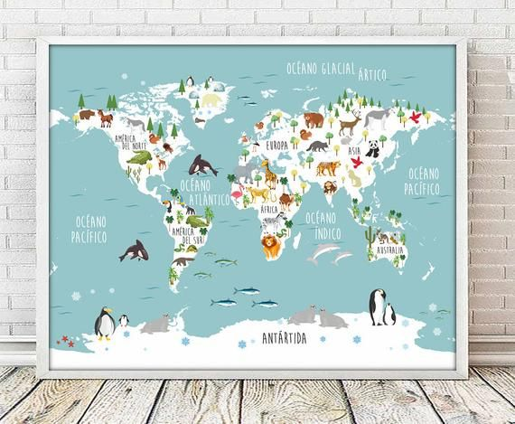 Spanish Mapamundi Spanish World Map Print Map Print Mapamundi Print Animal Map Print World Map Print Nusery World Map 5 Sizes Included Baby Room Prints Boys Room Print World Map