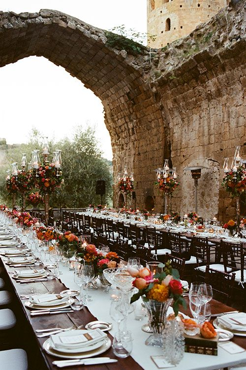 Brides: A Colorful Wedding at a 6th Century Italian Abbey. Glamourous destination wedding photography in Italy.