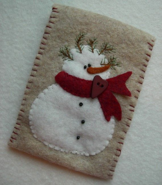 Snowman Gift Card Holder by SnowBerryNeedleArts on Etsy