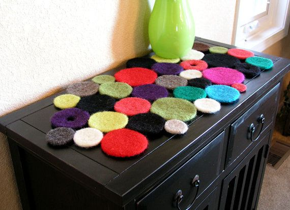Felted wool table runner  Colorful Modern and Upscale