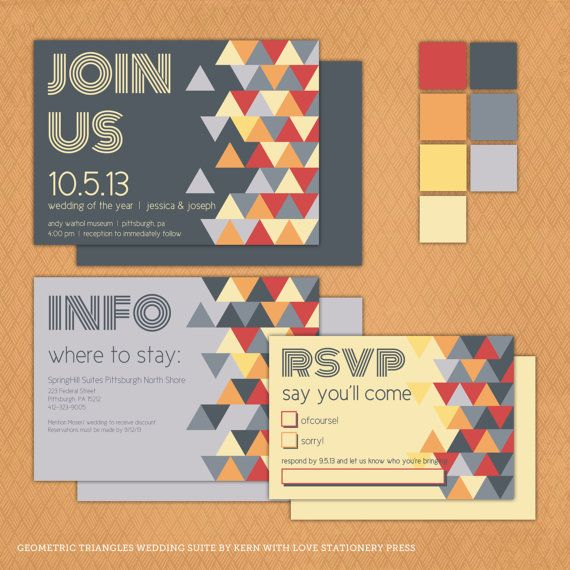 Printable Geometric Triangles Wedding Invitation Suite