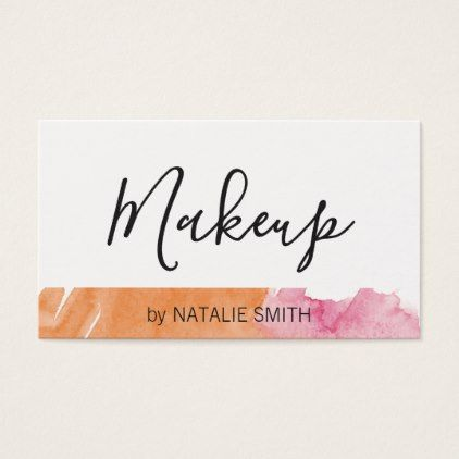 #Trendy Makeup Artist Watercolor Business Card - #cosmetologist #gifts #beauty
