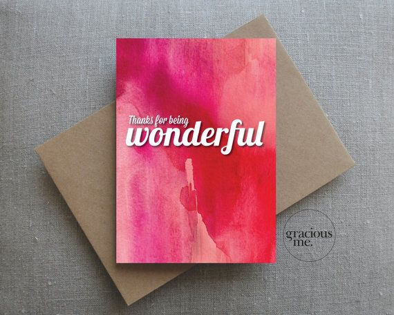 Thank You Card 'Thanks for being wonderful' card by GraciousMeShop | Gracious Me Design