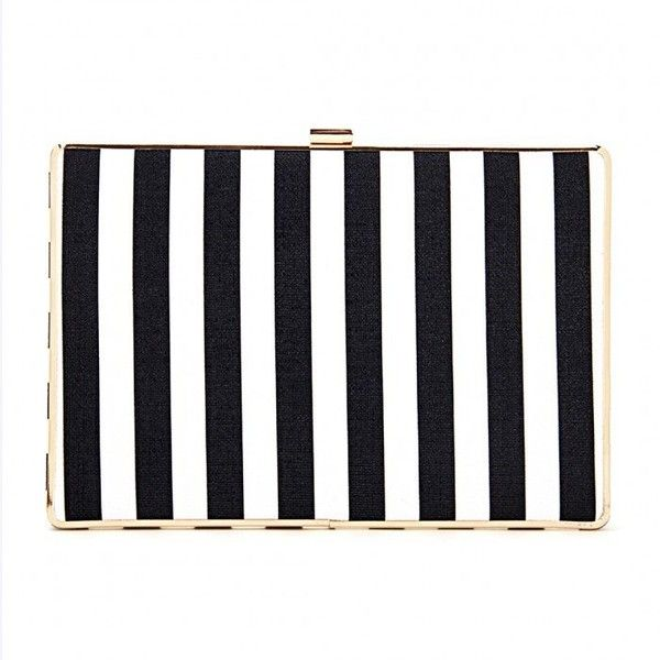 Yoins Black and White Striped Leather-look Box Clutch Bag ($29) ❤ liked on Polyvore featuring bags, handbags, clutches, yoins, black, handbags purses, black white handbags, structured purse, structured handbag and black white striped purse